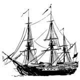 Piratkopiera skeppvektorn, Eps, logoen, symbolen, konturillustration vid crafteroks för olikt bruk Besöka min website på https:// stock illustrationer