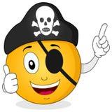 Piratkopiera smileyen med ögonlappen & skallehatten Royaltyfria Foton