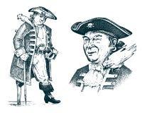 Piratkopiera ståenden Leda mannen på skeppresande till och med haven och haven Marin- affärsföretag av sjömankroken inristat royaltyfri illustrationer