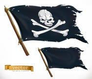 piratkopiera svart flagga Jolly Roger vektorsymbol stock illustrationer
