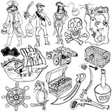 Piratkopiera symboler skissar Arkivbilder