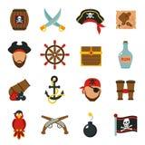 Piratkopiera symbolsuppsättninglägenheten stock illustrationer