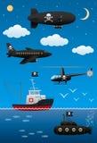 Piratkopiera transport och teknologi En fantastisk värld av piratkopierar Royaltyfri Illustrationer