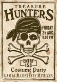 Piratkopierar affischen för dräktpartitappning med text Stock Illustrationer