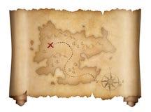 Piratkopierar den gamla isolerade snirkeln för skatten översikten royaltyfri illustrationer