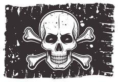Piratkopierar den svarta flaggan med skallen och korslagda benknotor Vektor Illustrationer