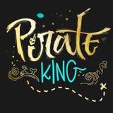 Piratkopierar det utdragna bokstäveruttrycket för handen konungen för mörka bakgrunder royaltyfri illustrationer