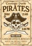 Piratkopierar inbjudan att kostymera partitappningaffischen Vektor Illustrationer