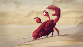 Piratkopierar momentet på en animering för krabba 3D, tecknad film lager videofilmer
