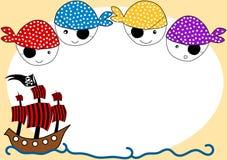 Piratkopierar och kortet för skepppartiinbjudan stock illustrationer