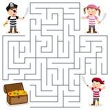 Piratkopierar & skattlabyrint för ungar Arkivfoton