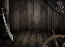 Piratkopierar skeppbakgrund med den gamla glade roger flaggan och sabeln Arkivbilder