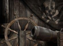 Piratkopierar skeppdäcket med den gamla glade illustrationen för den roger flaggan 3d stock illustrationer