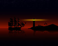 Piratkopierar skeppet mot solnedgång Royaltyfria Bilder