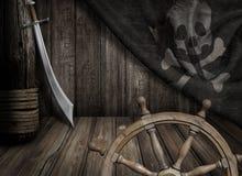 Piratkopierar skeppstyrninghjulet med gamla glade roger Royaltyfri Bild