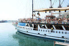 Piratkopieraskeppet på stranden av Cleopatra Royaltyfri Fotografi