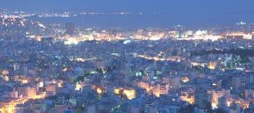 Pireaus et Athènes Grèce, skyview Photos stock