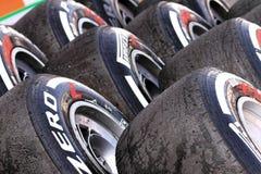 Pirelli hi speed tyres Stock Photography