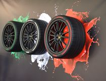 Pirelli italian style tires. At salone dell`auto Torino NEW OPEN AIR CAR SHOW Stock Photography