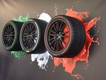 Pirelli italian style tires. At salone dell`auto Torino NEW OPEN AIR CAR SHOW Stock Photography