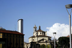 Pirelli tower and the church Royalty Free Stock Photography
