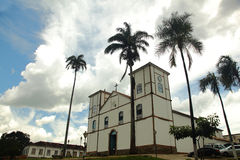 Pirenopolis Church in Goias Brazil. Wide angle image of the oldest Church in Pirenopolis. Constructed in 1728 Royalty Free Stock Photo