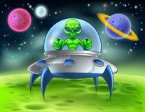 Pires de voo estrangeiros do UFO dos desenhos animados no planeta ilustração stock