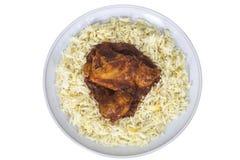 Piri Piri Chicken Dish Served with Fresh Rice Stock Image