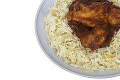 Piri Piri Chicken Dish Served with Fresh Rice Stock Photos