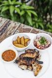 Piri piri portuguese roast chicken with jindungo spicy sauce mea Stock Images
