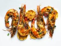 Piri-piri rústico camarão grelhado fotos de stock royalty free