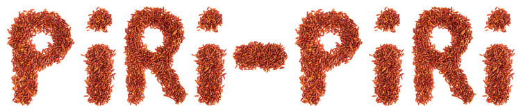 Piri-Piri written with chilli peppers Stock Images
