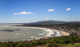 Piriapolis-Bucht-Ansicht vom Cerro San Antonio in der Maldonado-Region, Uruguay Lizenzfreies Stockbild
