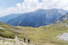 Pirin山的,保加利亚远足者 库存照片