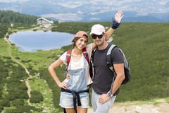 Pirin山的, Bezbog湖年轻朋友 图库摄影