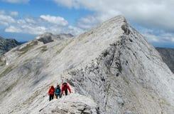 Pirin berg i Bulgarien, grå färg vaggar toppmötet under den soliga dagen med klar blå himmel Royaltyfri Foto