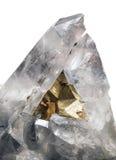Pirite στο κρύσταλλο quartze Στοκ Φωτογραφίες