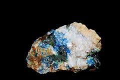 Pirite e quarzo della malachite dei minerali Immagini Stock