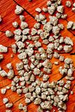 Pirite - ouro do ` s do tolo - no coto de árvore de madeira Fotografia de Stock Royalty Free