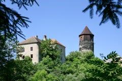 Pirkstejn castle, Rataje nad Sazavou, Czech republic. PIRKSTEJN, RATAJE NAD SAZAVOU, CZECH REPUBLIC - AUG 19 - medieval gothic castle with tower from 14th Stock Photo