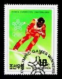 Pirmin Zurbriggen serie de gagnants de la médaille de Suisse, Calgary de Jeux Olympiques d'hiver, vers 1988 photos libres de droits