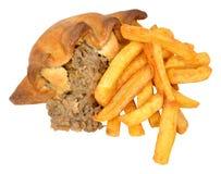 Pirog och Chips Meal Arkivfoto