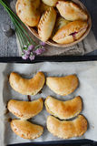Pirogi or pierogi on baking tray, close up Royalty Free Stock Photos