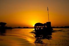 Pirogue al tramonto, Mali (Africa). Immagine Stock Libera da Diritti