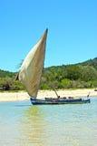 Pirogue beach seaweed in indian ocean madagascar  nosy be Stock Photos