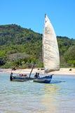 Pirogue beach seaweed  indian ocean madagascar Royalty Free Stock Photos