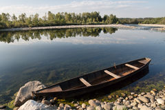 Pirogue on a river Royalty Free Stock Photography