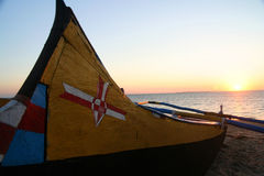 Pirogue at sunset Royalty Free Stock Photos