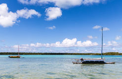 Pirogue traditional fishing boats on �le des Pins Royalty Free Stock Image