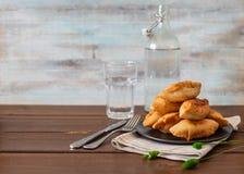 Pirojki Rissol delicioso tradicional do russo foto de stock royalty free